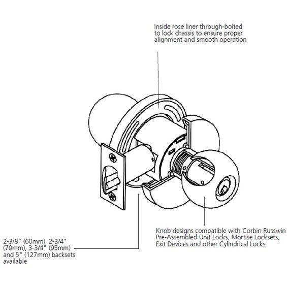 Corbin russwin ck4450 grade 2 half dummy trim taylor for Corbin russwin templates