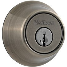 Kwikset 660-15A-SMT Antique Nickel Single Cylinder Deadbolt with SmartKey (660 Series)