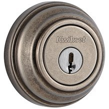 Kwikset 980-502-SMT Rustic Pewter Single Cylinder Deadbolt with SmartKey (980 Series)