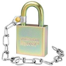 American No. A5200GLW Solid Steel Government Padlock (w-Chain)
