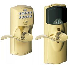 Schlage FE599NX-CAM-ACC Connect Camelot Keypad Leverset with Accent Lever and Z-Wave Technology