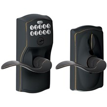 Schlage FE595-CAM-ACC Camelot Keypad Entry with Flex-Lock Door Lever Set with Accent Lever
