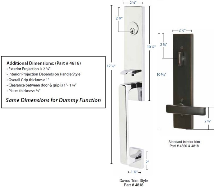 Emtek 4818 4808 Davos Handleset Taylor Security Amp Lock