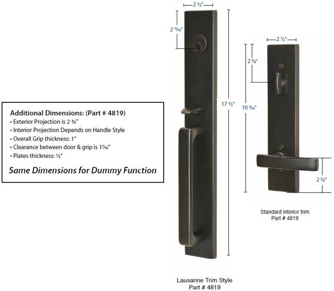 Emtek 4819 4809 Lausanne Handleset Taylor Security Amp Lock