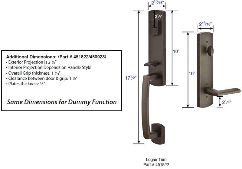 Emtek 451822 450822 Logan Handleset Taylor Security Amp Lock