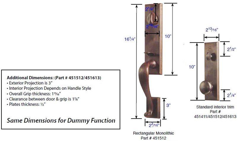 Emtek 451512 450512 Rectangular Monolithic Handleset