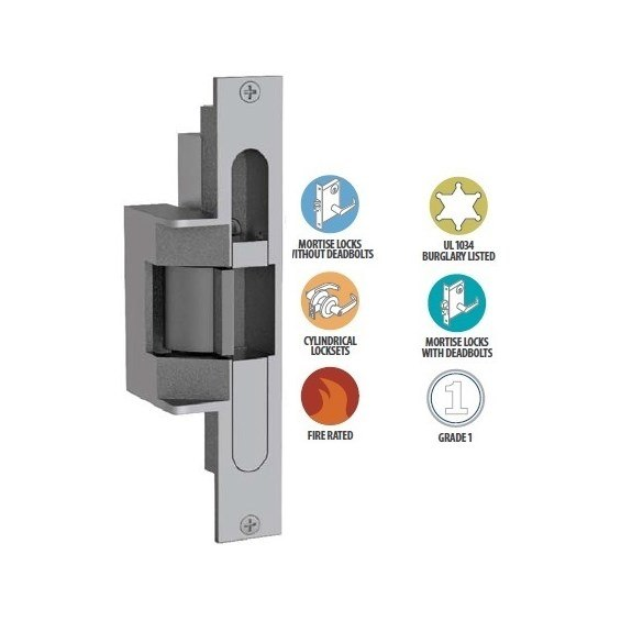 1//2 PK keeper standard Latchbolt and Locking Cam Monitor with Auxiliary Switch Satin Bronze Top Notch Distributors Grade 1 HES 18104054 310 6 1 Folger Adam Electric Strikes
