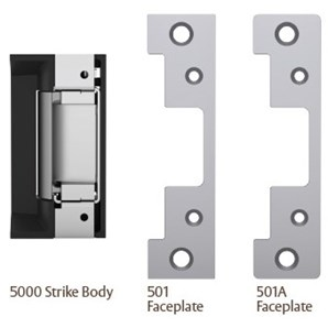 12//24 630 HES 5000C Electric Strike Complete Pac 1 Box Solution which Includes The 501 and 501A faceplates Dual Voltage . Satin Stainless Steel