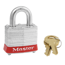 Master No. 3 Steel Safety Padlock (Red Bumper)