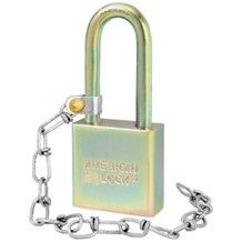 American No. A5201GLW Solid Steel Government Padlock (w-Chain)