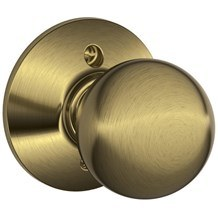 F170-ORB-609 Schlage Orbit Single Dummy Knob in Antique Brass (Discontinued)