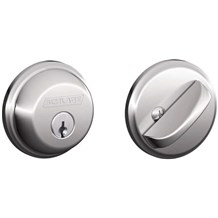 Schlage B60-625 Polished Chrome Single Cylinder Deadbolt from the B-Series