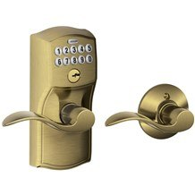 Schlage FE575-CAM-ACC Camelot Keypad Entry with Auto-Lock Door Lever Set with Accent Lever