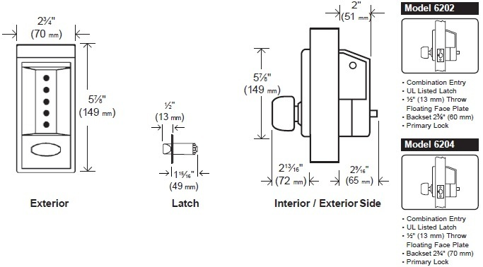 lock can be inverted if the existing auxiliary lock obstructs installation   door thickness: 1-3/8